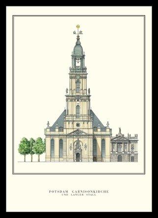 Germanposters Philipp Gerlach Potsdam Garnisionskirche Architektur Plakat Poster Kunstdruck Bild im Alu Rahmen in schwarz 76x56cm