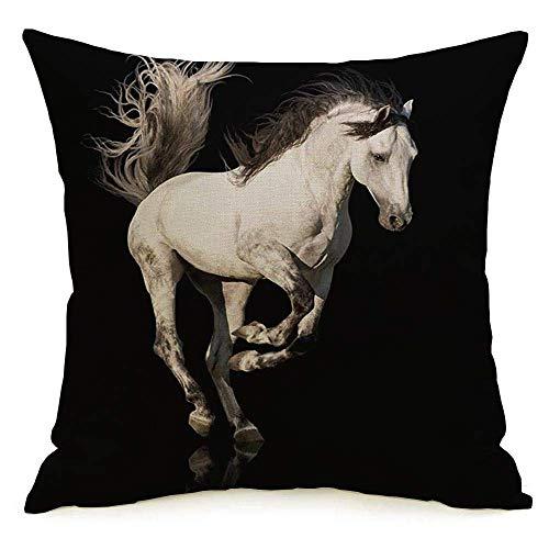 Funda de almohada cuadrada de lino decorativo Gallop White Freedom Run Caballo andaluz Belleza española Recorte Verano Piernas negras Melena estable Funda de almohada para mascotas Cojín para sofá