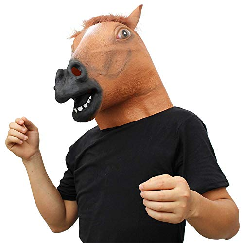 CreepyParty Costume d'Halloween Fête Masque de Latex Tête Animale Cheval(Marron)