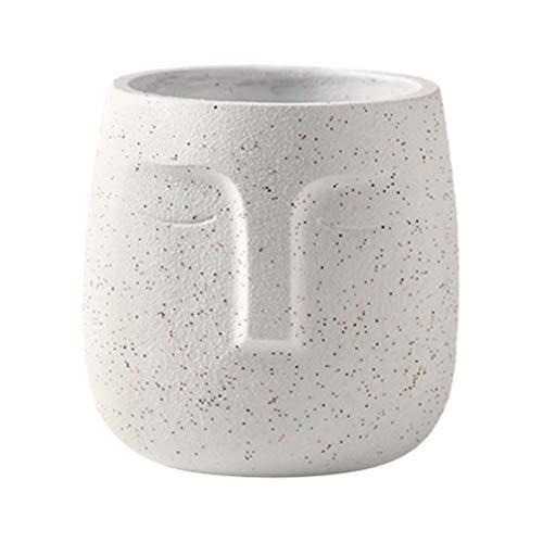 Hemoton - Vaso per viso in cemento, per viso, in vaso astratto, suculente, pianta e pianta, decorazione da ufficio a casa, colore: Bianco