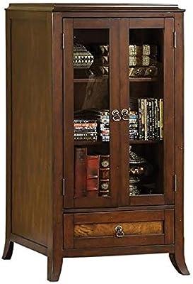 Furniture of America Dorinda Solid Wood 3-Shelf Cabinet in Brown Cherry