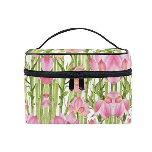Bambou Rose Lotus Vert Sac Cosmétique Organisateur Fermeture à Glissière Sacs Trousse de Maquillage Pochette Cas de Toilette pour Voyage Les Femmes Filles