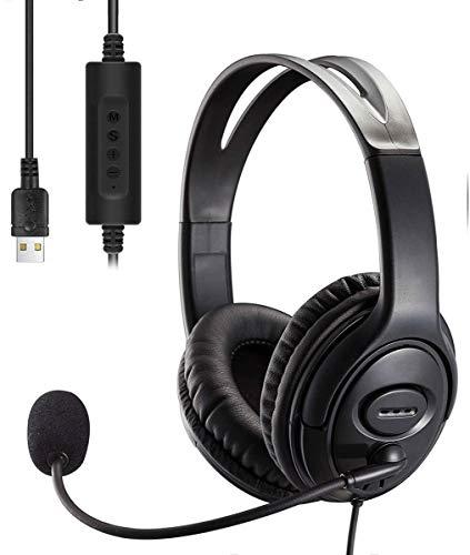 Casque Gamer,Casque USB Ordinateur,Casque USB PC avec Micro Antibruit et Commandes Audio,Casque Confortable Adapté aux Conférences Téléphoniques, aux Jeux Vocaux, aux Cours en Ligne, etc