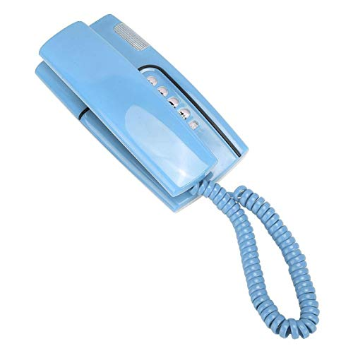Teléfono fijo, Mini teléfono con cable de pared / escritorio con cable, Tecla conmutable de pulso de soporte, Flash rápido, Remarcación, Silencio, Pausa, Función de timbre, para la oficina(azul)