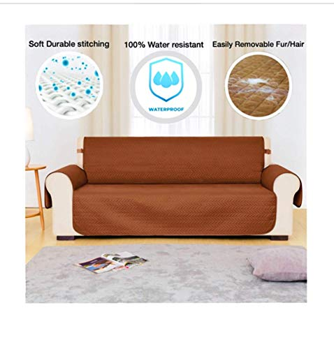 Chester Homegoods Premium 100% Waterproof Sofa Cover | Couch Slipcover Children, Dogs and Cats | Brown (Brown)