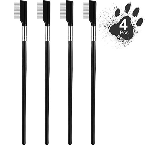 Dog Tear Stain Remover Comb Cat Tear Stains Remover Combs for Dogs Pet Tear Stain Removal Can Apply with Pet Wipes Se of 4 Black Handle