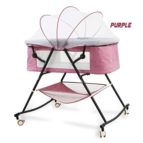 Fantastic Deal! Rocking Chair Rocking Cradle for Baby Automatic, Big Space Crib Portable Folding Roc...