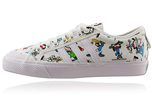 adidas Originals Mens Nizza X Disney Sport Goofy Sneaker, Footwear White/Scarlet/Core Black,47 1/3 EU
