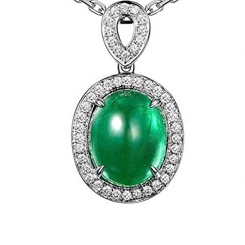 Bishilin Oro Blanco 18K Colgante de Collar de Mujer Verde Esmeralda Collares Pendientes Forma Ovalada de Cuatro Garras Colgante con EURena Verde Collar para Matrimonio Boda Longitud45Cm