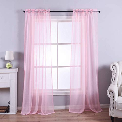 Anjee Pink Sheer Curtains 63 Inches Long Rod Pocket Window Treatment Sheer Voile Drapes for Girls Bedroom Kitchen, W52 x L45 Inch 2 Panels