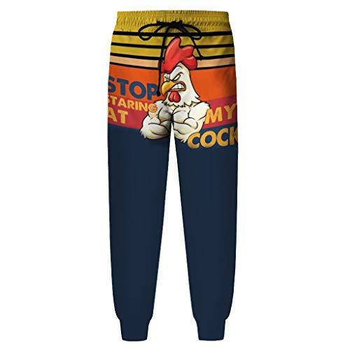 Herren Jogginghose Sporthose, MäNner Kordelzug Print Home Casual Turkey Pants Pyjamas DüNne Elastische Gerade Hose Slim Fit Sport Outdoors Freizeit Hose