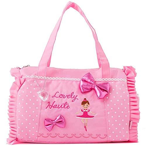 バレエ バッグ レッスンバッグ バレエ柄 ボストン バッグ 軽量 ピンク かばん 鞄 子供 キッズ 女の子 ダンス 練習 発表会 レッスン