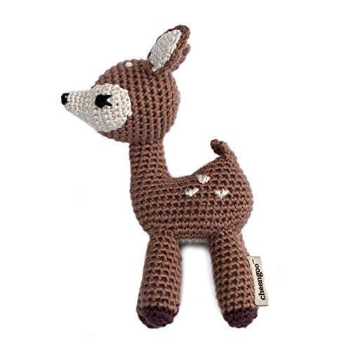 Cheengoo Organic Baby Rattle - Deer - Hand Crocheted Bamboo Fawn