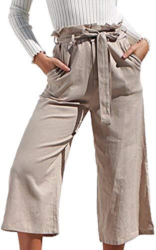 ECOWISH Damen Hosen Lang Weites Bein Sommerhose Gummibund Freizeithose mit Taschen und Gürtel Khaki M