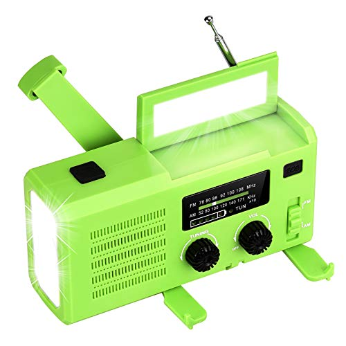 Ourdoor Solar Radio, Tragbares Kurbelradio Dynamo Radio mit NOAA/AM/FM, 4000mAh Wiederaufladbare Powerbank Batterie, 5 Modi LED Taschenlampe, Leselampe, SOS-Alarm für Camping Wandern Notfall (Green)