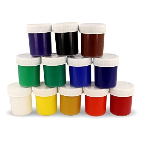 Krevo Art Gouachefarben-Set, Feine Künstlerfarben auf Wasserbasis, 12 Farben in 40ml Flaschen, Zum Malen auf saugenden wie nichtsaugenden Malgründen, Set für Hobbyisten und Profis