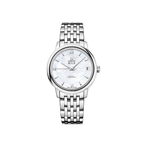 OMEGA Reloj analógico automático para mujer de 33 mm, pulsera y caja de acero, 42410332005001