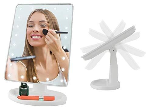 Miroir de maquillage avec lumière LED - Miroir lumineux - Rotatif
