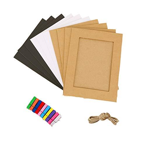 Jahosin - Marco de fotos de papel de 12,7 x 17,8 cm, diseño creativo de cartón con cuerda de lino y clips, 3 colores (5 x 7, 10 unidades3se)