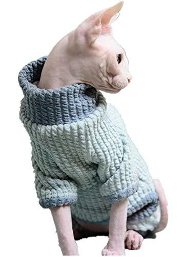 DSYRH Haarlose Katze zu Hause Kleidung Sphinx Katze Kleidung Stretch Bottoming Shirt Britisch kurz vierbeinig warm, blau, L.