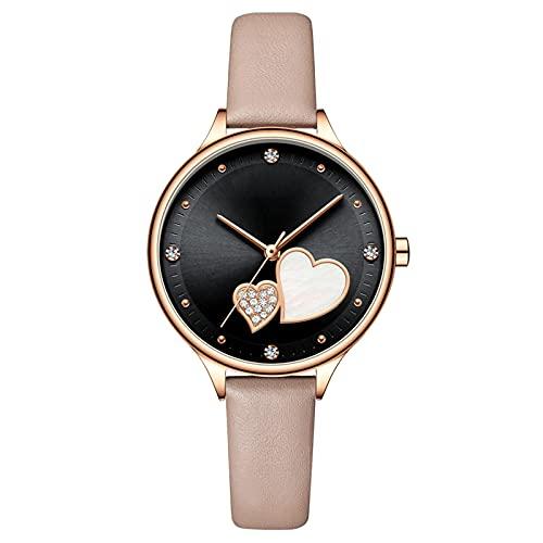 MAID Guapo Reloj de Correa de Cuero Relojes de Mujer Reloj de Pulsera de Cuero con Diamantes de imitación Elegante Reloj Fino para Mujer Reloj de Negocios (Color : Rose Black, Size : A)