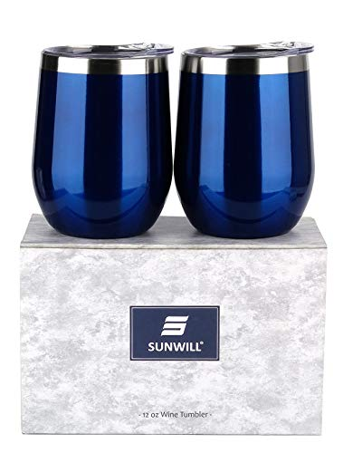 SUNWILL Insulated Wine Tumbler with Lid Glass Blue 2 pack, Double Wall Stainless Steel Stemless Insulated Wine Glass 12oz, Durable Insulated Coffee Mug, for Champaign, Cocktail, Beer, Office