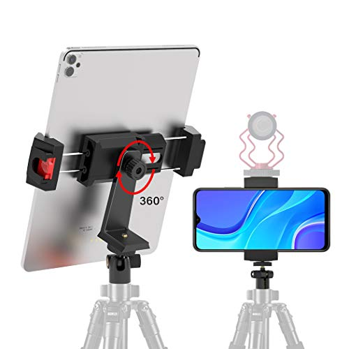 Phone and iPad Tripod Mount Adapter with Ball Head, 360°Rotation Universal iPhone Tablet Holder with Cold Shoe, Cell Phone Clamp for iPhone 11 12 Pro XS Max, iPad Pro Air Mini iPad 8th, All Smartphone