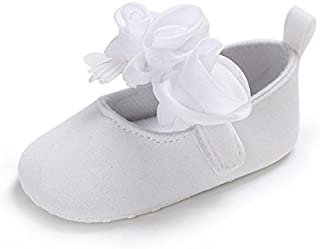 Baby Girls Princess Shoes Rose Flower Soft Sole Anti Slip Dress Shoes Mary Jane Flat (13cm(12-18 Months) White) [並行輸入品]