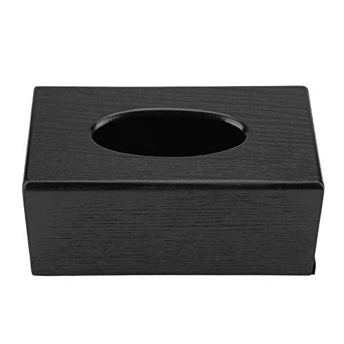Dciustfhe Caja rectangular de madera para pañuelos de papel, elegante, para salón, dormitorio, cocina, 23 x 12 x 10,5 cm, color negro