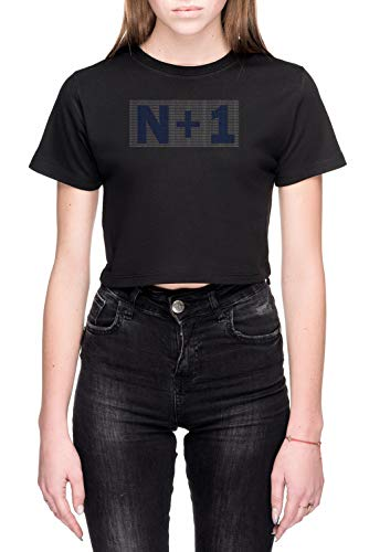 N+1 Dames Crop T-Shirt Zwart Women's Crop T-Shirt Black