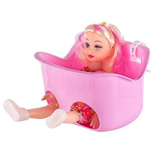 HILAND Asiento delantero para muñecas, cesta de bicicleta para decoración, cesta de accesorios para bicicleta infantil (rosa y lila)