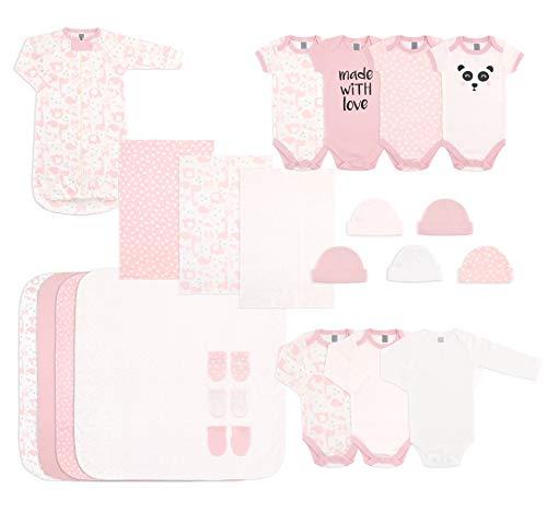 The Peanutshell Newborn Essentials Layette Gift Set for Baby Boys or Girls, 23 Piece, Fits Newborn to 3 Month Pink