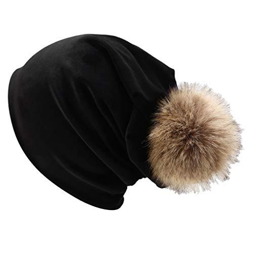 Bommel Für Mütze Beanie Mütze Damen Warm Gefütterte Wintermütze Outdoorhut Häufchen Hut Cap Herbst/Winter 2019