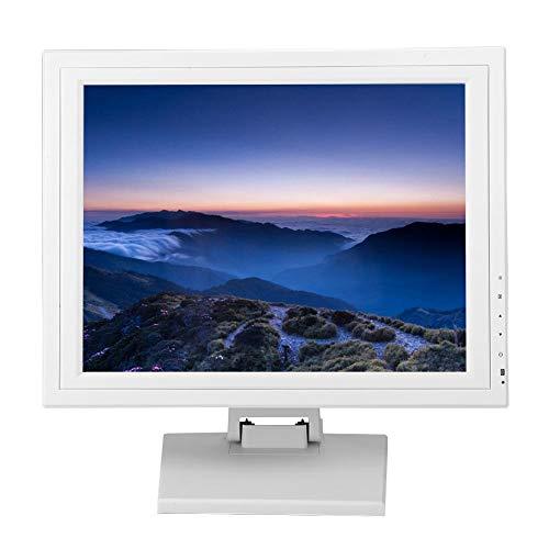 ASHATA LCD Touch Screen kassa-monitor, 15 inch TFT LCD capacitief touchscreen kassa-systemen, 16,7 m kleur LCD-monitor beeldscherm met USB-standaard voor gastronomie handel EU stekker, wit