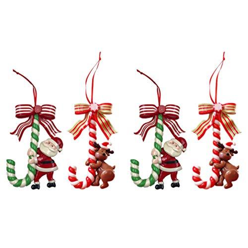 STOBOK 4Pcs Enfeites de Bengala de Doces de Natal Decoração de Pingente de Rena de Papai Noel Doce de Bengala Enfeite de Ãrvore de Natal para Casa Decoração de Suspensão de Lareira de