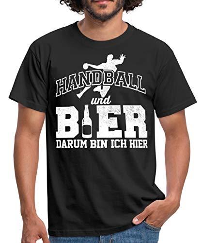 Handball Und Bier Darum Hier Witziger Spruch Männer T-Shirt, M, Schwarz