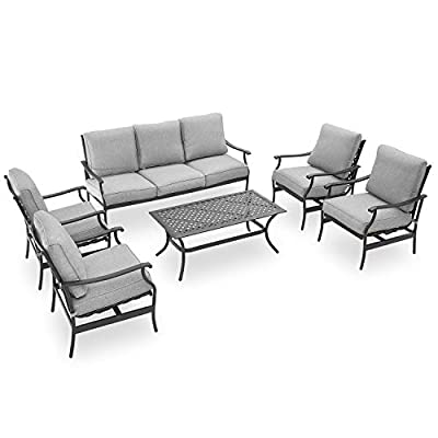 PatioFestival Patio Conversation Set 6 Pieces Cushioned Outdoor Metal Furniture Sets with All Weather Galvanized Steel Frame (Grey)
