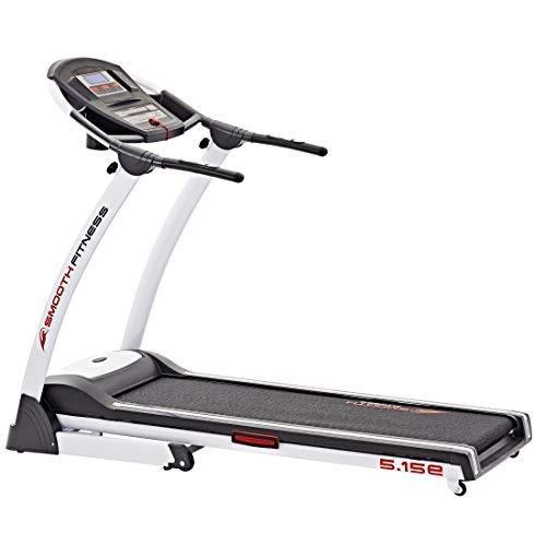 Smooth Fitness 5.15e Plus - Tapis roulant, Controllo Connect+ App, 44 x 130 cm, Motore 2.0 CV, Regolazione Elettronica dell'inclinazione 0-12%, 36 programmi, Allenamento della frequenza cardiaca