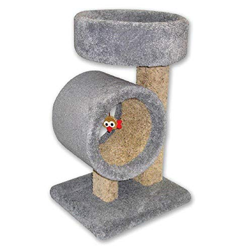 Beatrise 17″ x 19″ x 31″ Carpeted Kitty Cat Tunnel Tree Tower with Round Bed