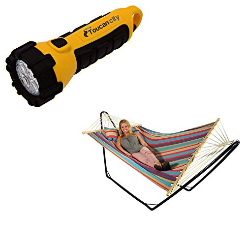 Toucan City LED Flashlight and Decor 9-1/2 ft. Quilted Fabric Hammock with Spreader Bar and Detachable Pillow in Wildberry LY-CH10-WB