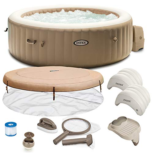 Intex Whirlpool Pure SPA 28428 Bubble Massage Therapy für 6 Personen Kalkschutz Komplett-Set mit Extra-Zubehör wie: Reinigungsset, Kopfstütze und Getränkehalter