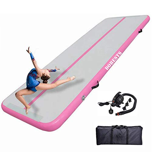 Air Gymnastics Track Tumbling Mat Inflatable 10ft 13ft 16ft Flooring Mat Yoga Training Mat 4 Inch Thickness for Home Use/Training/Cheerleading/Yoga/Water Fun Pink 3m