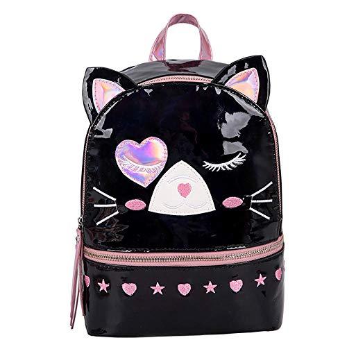 QPYYBR Mochila holográfica de moda para mujer, mochila para niñas adolescentes, bonito gatito, mochila transparente con láser, mochila escolar para mujer