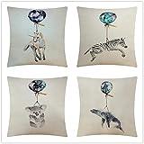 Fundas de Cojines Sofa Globo Animal Algodón de Lino Suave Cuadrado Cojines Decoracion Hogar Cushion Covers para Salón Cama Coche Dormitorio Funda de Almohada Juego de 4 T1852 45x45cm/18x18inch