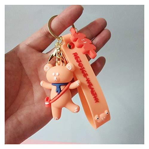 YSJSPOL Schlüsselbund Modelle Hula Hoop-Bären-Puppe Schlüssel Anhänger Nettes Mädchen Keychain Weibliche Beutel Paar-Geschenk Auto-Telefon-Verzierung (Color : 2)