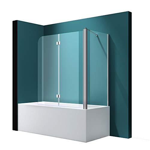 Badewannenfaltwand C113 Wandanschlag rechts in Klarglas 6mm ESG-Glas Nano-Versiegelung, BTH: 70x120x140cm