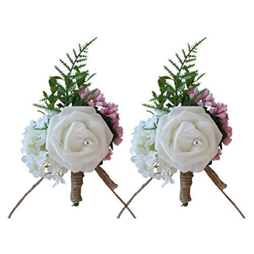 NUOBESTY 2 Piezas de Flores Artificiales Broche de Seda de La Boda Broche de Flor de Rosa para El Novio Dama de Honor Decoración de Reuniones de Negocios (Blanco)