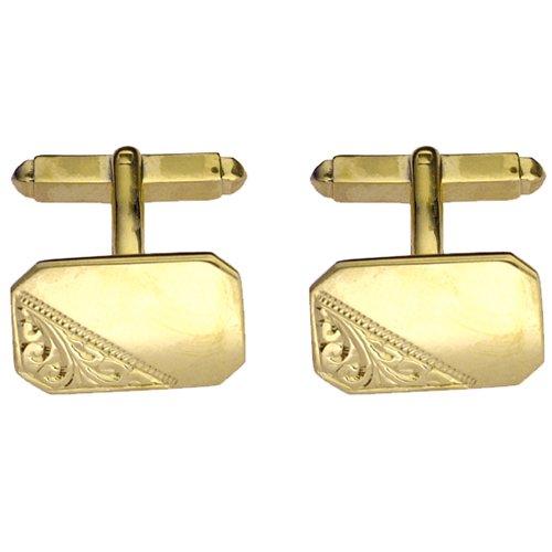 Boutons de manchettes 18x12mm en Or Jaune 9ct - 375/1000 gravés à la main