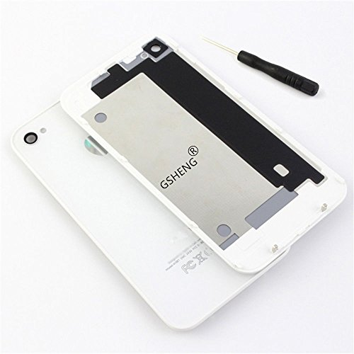 GSHENG Tapa Trasera Cristal para Apple iPhone 4S + Destornillador pentalobulado (Blanco)