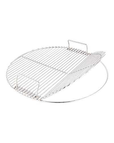 KAMaster Stainless Steel Cooking Grate for 22 in Weber Charcoal Grills 21.5 in Round Hinged Cooking Grid Grill Accessory Replaces for Weber Original Kettle Series